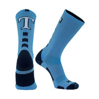 SOCKS, BASELINE CREW COLUMBIA BLUE/NAVY WITH T