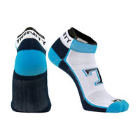SOCKS, LOW CUT WITH T, WHITE WITH NAVY FOOTBED, COLUMBIA HEEL/TOE TRINITY ON ANKLE