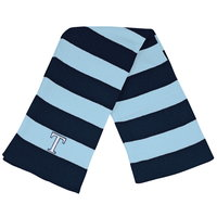 SCARF, KNIT STRIPED NAVY/COLUMBIA BLUE T