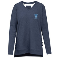 PULLOVER, WOMEN'S NAVY HEATHER V NECK WITH T AND TROLL