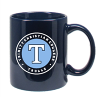 MUG, NAVY WITH T IN CIRCLE