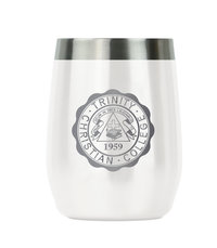 WINE TUMBLER, WHITE WITH LASER ENGRAVED SEAL