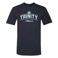 T-SHIRT, MV NAVY RINGSPUN TEE WITH TRINITY TROLLS WHITE/CBLUE INK